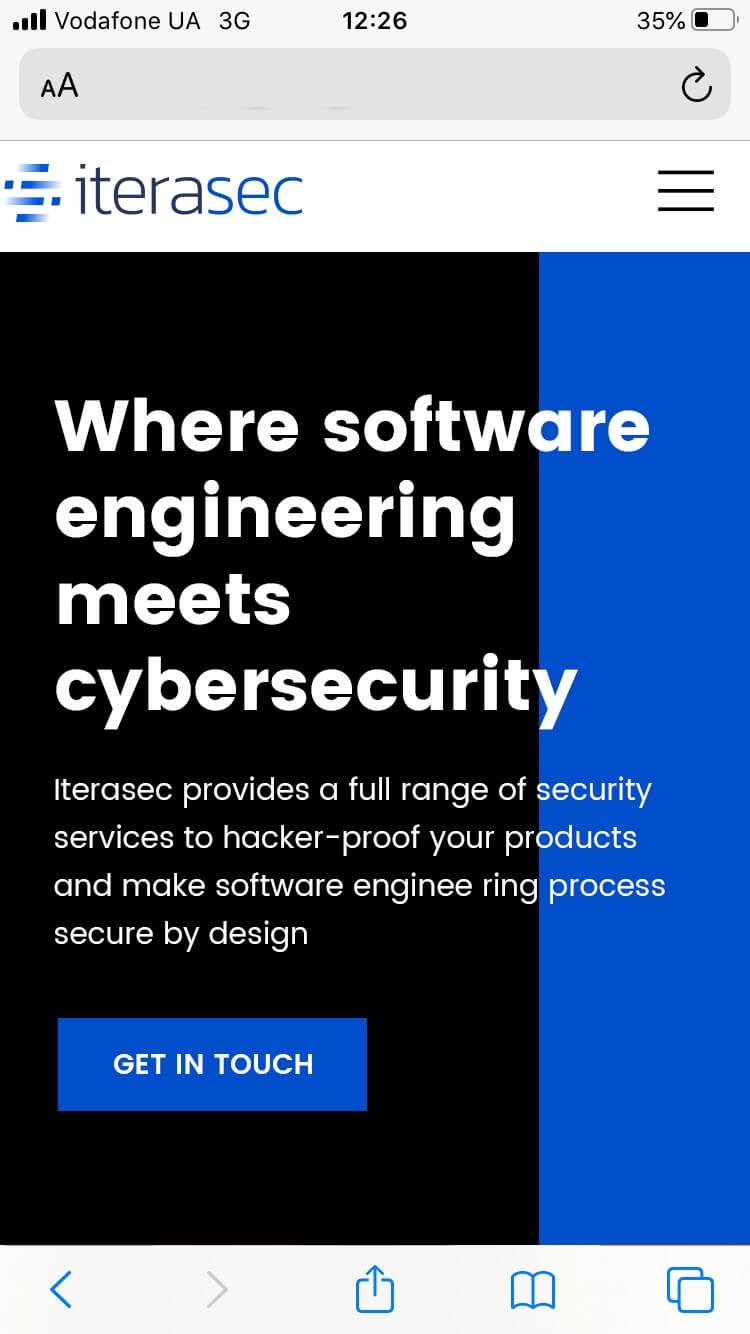 Сайт візитка для міжнародної компанії Iterasec